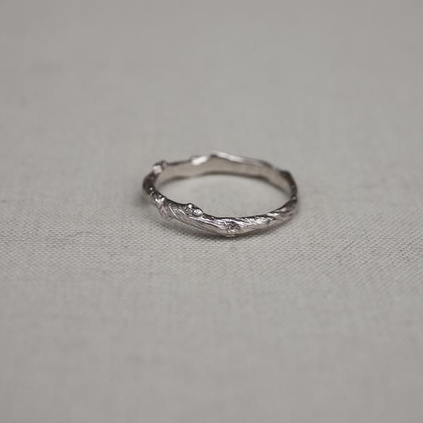 Solid White Gold Hawthorn Twig Infinity Ring 14k