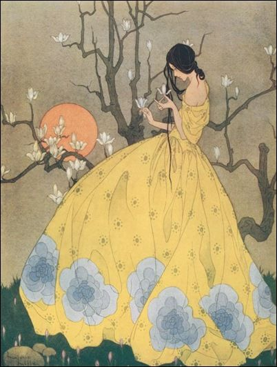 Marjorie Miller was an illustrator of children's stories and periodicals  around 1924-1935. The elongated figure and composition  demonstrate a Japanese influence.