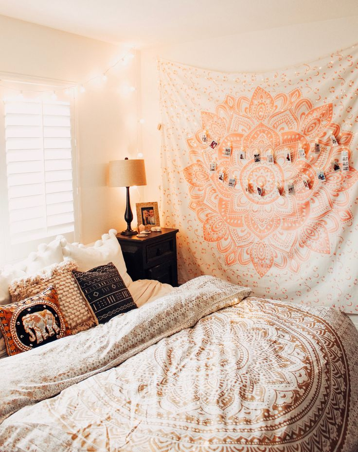 Bedroom Goals ☽ ✩ Beautiful room by Lady Scorpio | Bohemian Peach and pink Bedroom Moon Phase Wall Hanging Decor Tapestry Design Polaroids all seeing eye Boho Bungalow UOhome urban outfitters apartment dorm || Save 25% off all orders with code PINTERESTXO at checkout | Shop Now LadyScorpio101.com  @ladyscorpio101