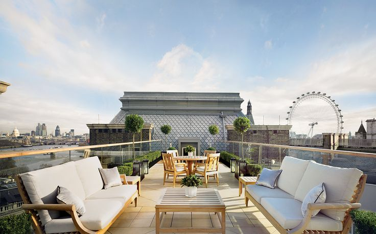 London holds some of the world's best hotel suites, and the city's Corinthia hotel alone holds seven spectacular penthouse suites. The Musician's Penthouse, shown here, features a Steinway Model O piano, credenza cocktail cabinet and music decks, as well as a private internal life - it is a two-storey suite - and outdoor terrace with spectacular views.