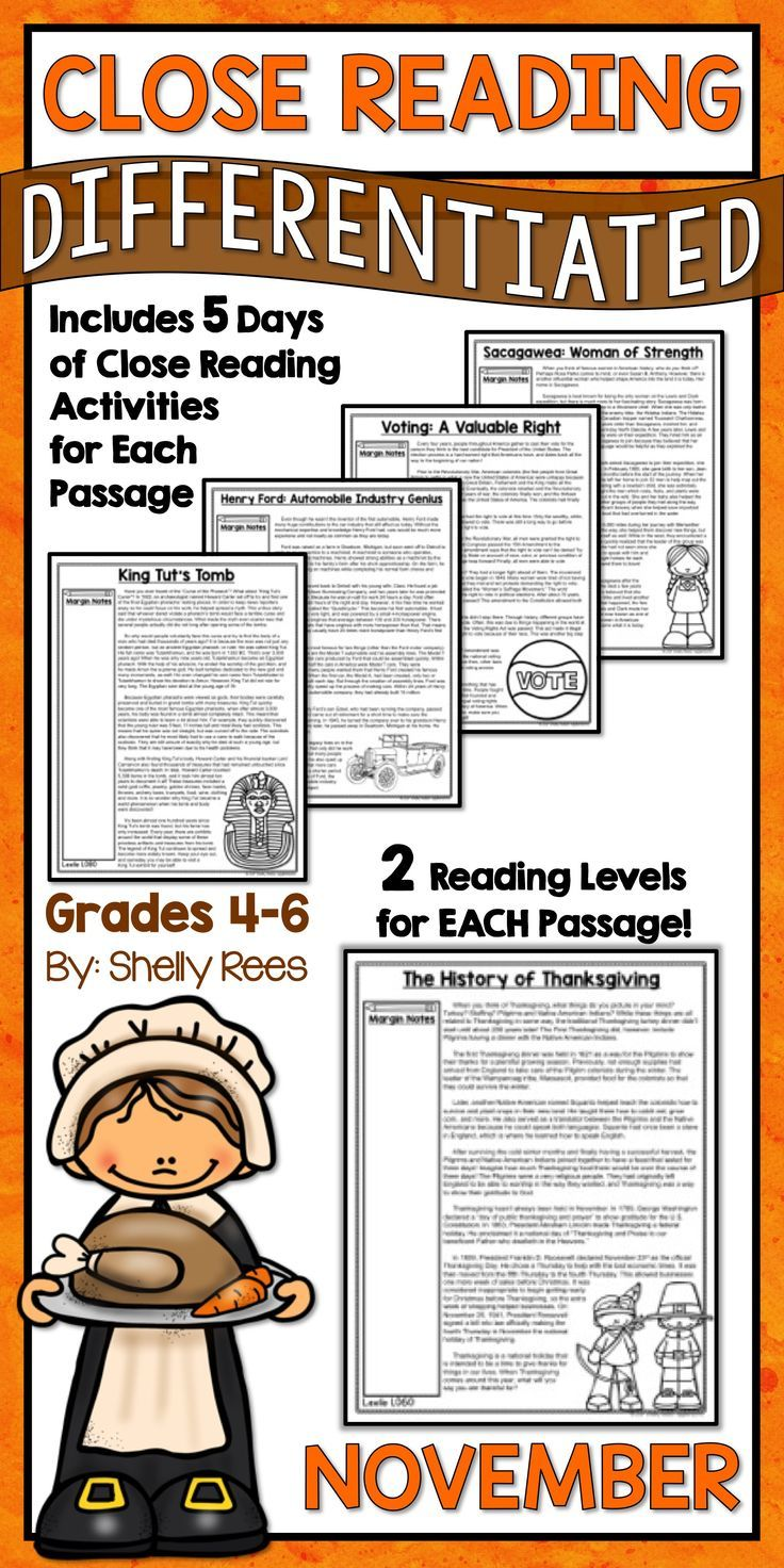 Close Reading Passages and Activities for the Month of November are fun and interesting for 3rd, 4th, 5th, 6th, and 7th grade students in elementary and middle school. Differentiated passages, Close Reading steps & strategies, graphic organizers, and annotation guides make this the complete close reading toolbox and kit for classroom teachers! Sacagawea | King Tut's Tomb | Voting | Henry Ford | The First Thanksgiving