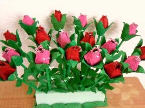 Rosas de carton de huevo!! Egg carton roses!!