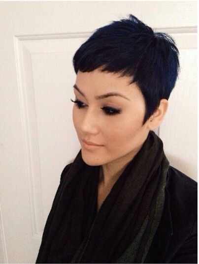 Short Black Pixie Haircut With Bangs