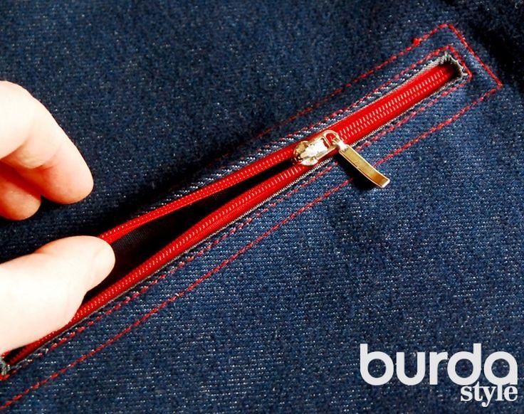 Шьем прорезной карман с застежкой на молнию #burdastyle #burda #мастеркласс