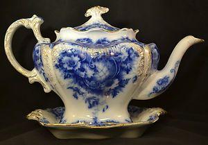 ANTIQUE ENGLISH TEA POT FLOW BLUE PORCELAIN FINE CHINA 1912 FLORAL VERY FINE!!!!   eBay