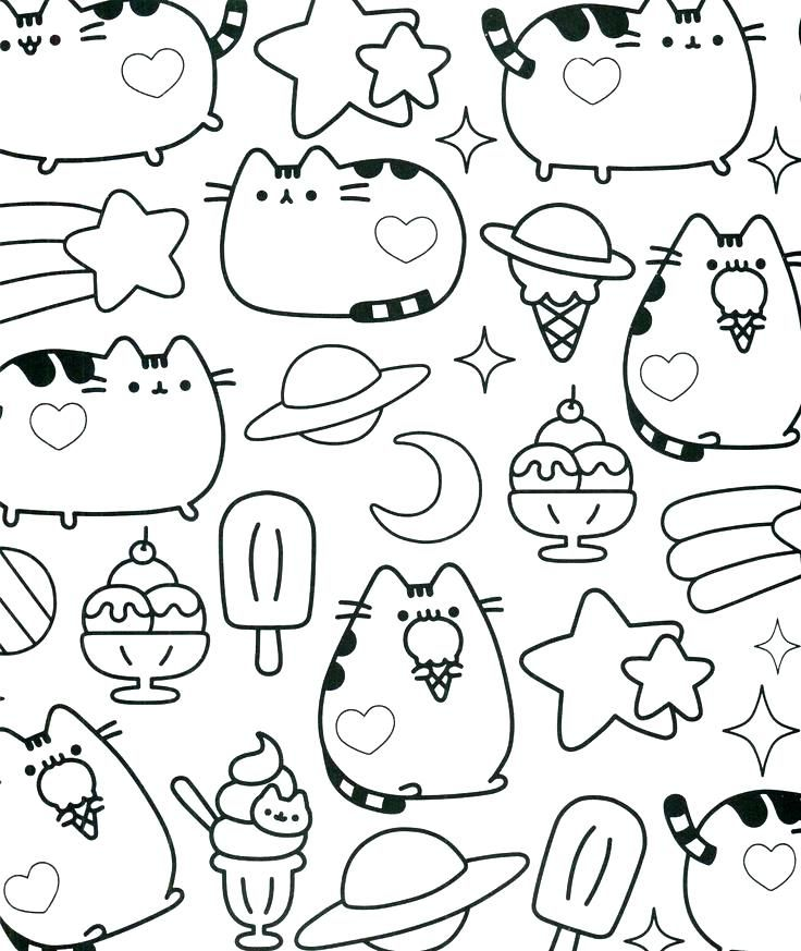 pusheen coloring pictures also