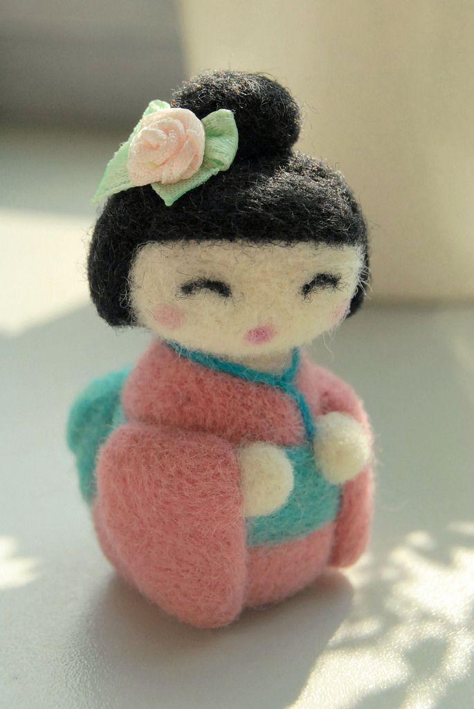 Pinku | tiny needle felted japanese doll | Jola | Flickr