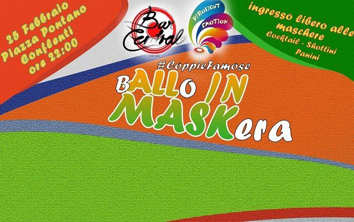 Bar Centrale e Pirolight Emotion organizzano il Primo ballo in maschera  :) Tema della serata: Coppie Famose. Balli, quiz musicali, LaserShow, disco anni 80-90 INGRESSO LIBERO ALLE MASCHERE