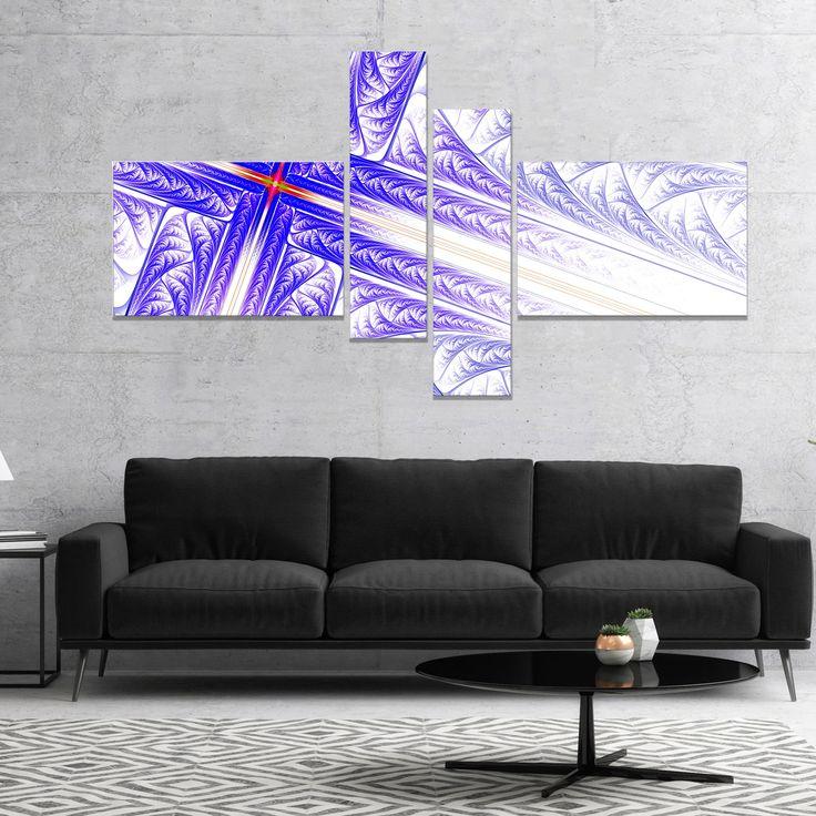 Designart 'Blue Fractal Cross Design' Abstract Canvas Art Print