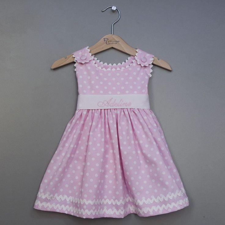 Personalized Pink Polka Dot Pique Sash Dress (#PL7)