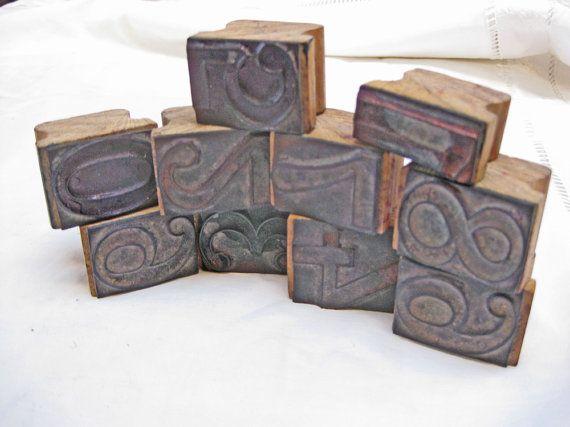 francobolli numeri legno vintage francesi numeri 0-9 di Histoires