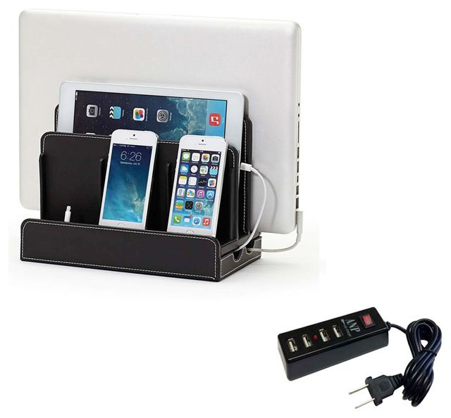 Faux Leather Multi-Charging Station, Black, Without Usb Power Strip contemporary-charging-stations