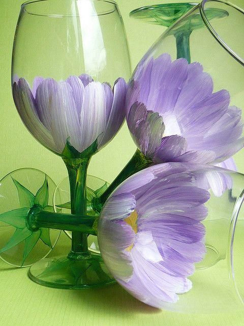 Hand Painted Wine Glass by judipaintedit, via Flickr. Very pretty!