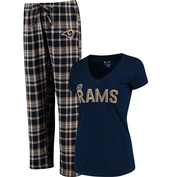 Los Angeles Rams Concepts Sport Women's Tiebreaker T-Shirt and Flannel Pajama Pant Set - Navy - $44.99