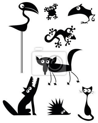 Animaux : Flamand rose, grenouille, gecko, renard, loup, hérisson, chat