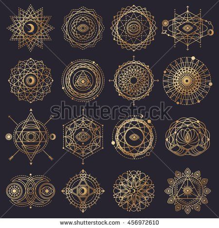 Sacred Geometry Forms with Eye, Moon, Sun. Vector illustration. Geometric Logo Design, Spirograph Lines. Alchemy Symbol, Occult and Mystic Sign. Shiny Gold on Black Background.