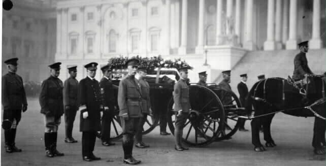 Unknown Soldier of World War I  Escorts on the right side of gun carriage. Army generals and  a Navy admiral form the outside rank with Soldiers (Sergeant Samuel Woodfill, first mentioned in Pershing's list of  war heroes, Sergeants Harry Taylor of the cavalry, Thomas D.Saunders of the engineers, Louis Razga of the coast artillery, James W. Dall of the field guns), two Chief Petty Officers (Chief Torpedo Man James Delaney and Chief Water Tender Charles Lee O'Connor) and Marine Sergeant…