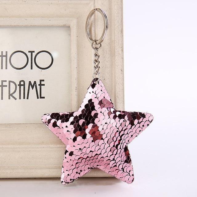 Pompom Glitter Sequin Key Ring Heart Star Keychain Women Bag Accessories Pendant