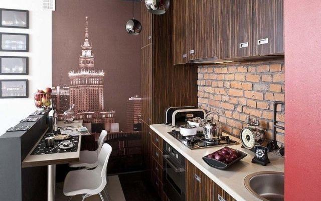 einrichtungsideen kleine küche stadtwohnung deko holz backstein