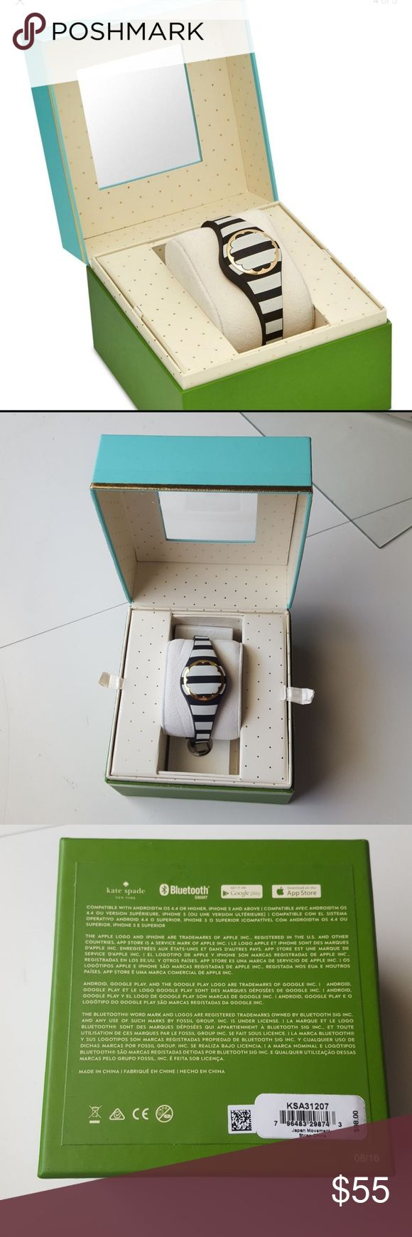 Kate Spade NewYork scallop Activity tracker Women's black and cream strip tones Tracker 26mm Brand new,  authentic  -Chic element provide motivation,success and organized tools -receive LED light notifications, control music -non charging or replace battery up 6 months  - Bluetooth connectivity with android 4.4+ or iPhone 5/iOS 8.2+ -water resistant to 30 meters   Available Macy's  $98 + tax kate spade Other