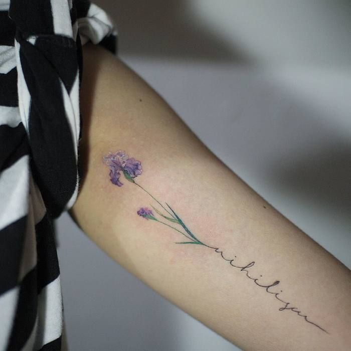 Delicate Purple Iris Tattoo by tattooistmuha