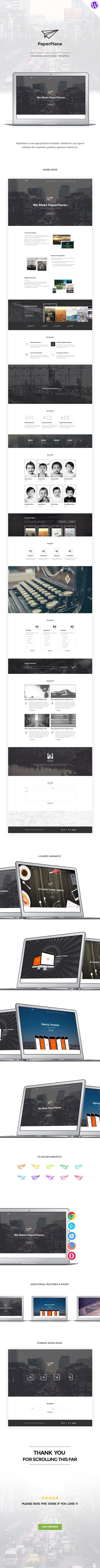 PaperPlane is one page portfolio WordPress theme, suitable for any type of websites like business, portfolio, personal website etc. It is fully compatible with WordPress 4.1. It comes with famous v...
