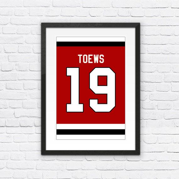Jonathan Toews Number 19 Chicago Blackhawks Jersey Art Print | Mancave Wall Art | NHL Memorabilia | Perfect Gift for Hockey Fan