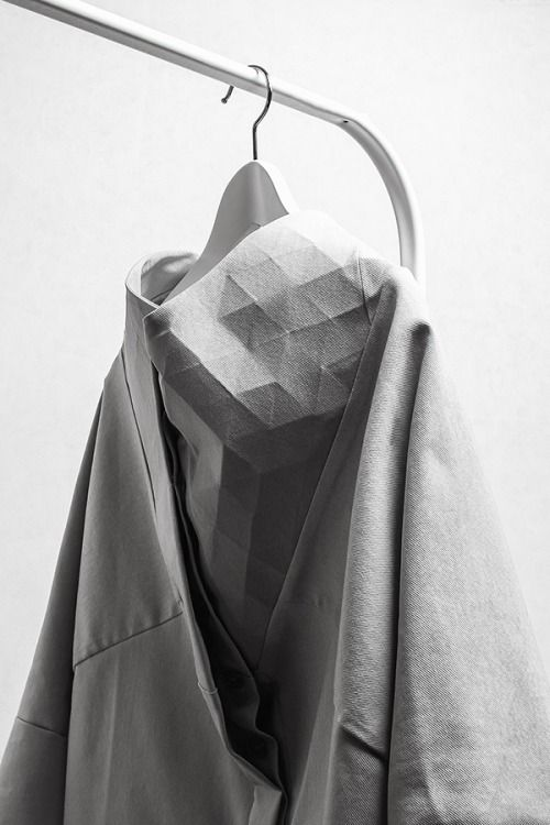 Flexible Geometric Textiles with faceted surface textures - fashion design detail; fabric manipulation