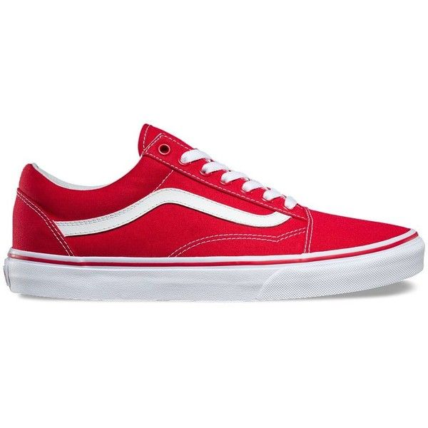 Vans Canvas Old Skool ($55) ❤ liked on Polyvore featuring men's fashion, men's shoes, men's sneakers, red, shoes, formula one, vans mens shoes, mens red canvas shoes, mens cap toe shoes and mens red shoes