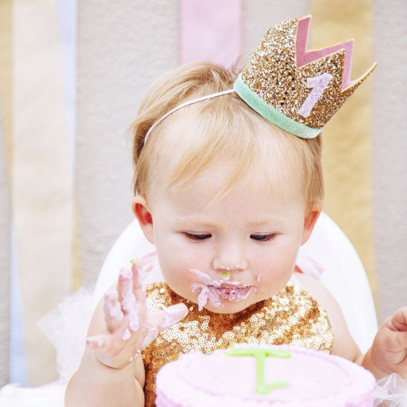 First Birthday Crown of Glitter // 1st Birthday Hat // Pale Gold + Mint + Pink 1 // Baby Girl Smash Cake Photo