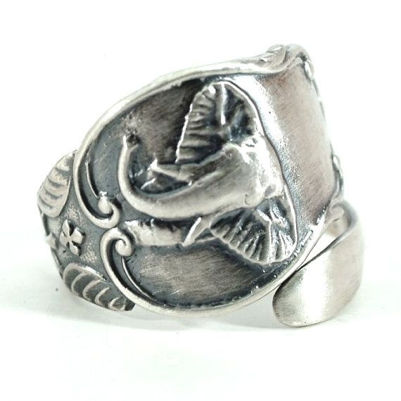 Elephant Ring, Sterling Silver Spoon Ring, North African Elephant, Egyptian Jewelry, Animal Ring, Silver Boho Ring, Elephant Lover Gift 3667