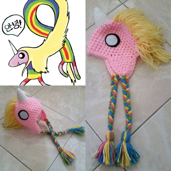 Crochet Lady Rainicorn Beanie/Hat Adventure Time by Potterfreakg