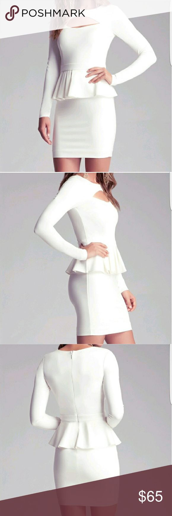 Bebe beautiful  white peplum dress size x-small Excellent condition bebe Dresses Mini