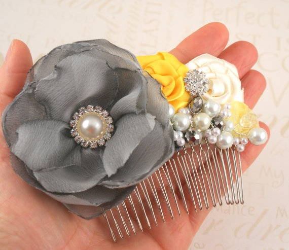 Hair Comb, Yellow, Silver, Gray, Pewter, Ivory, Fascinator ...