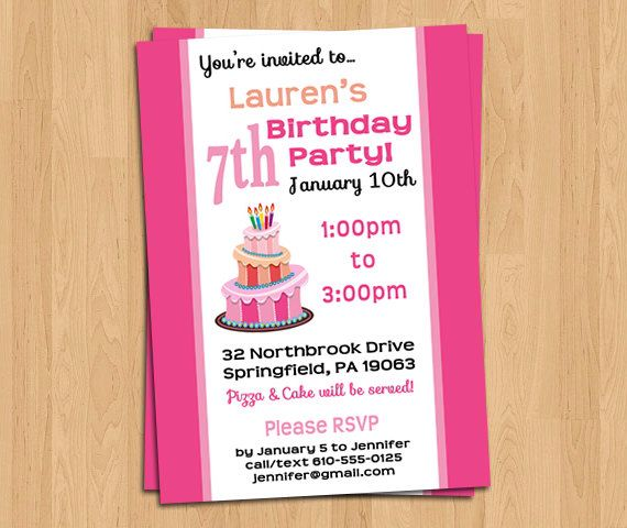 Girl Birthday Party Invitation, Pink Cake, Personalized Custom Printable Digital File, 6th Birthday 7th Birthday 8th Birthday 9th Birthday by LifePlusTwo on Etsy https://www.etsy.com/listing/206886823/girl-birthday-party-invitation-pink-cake