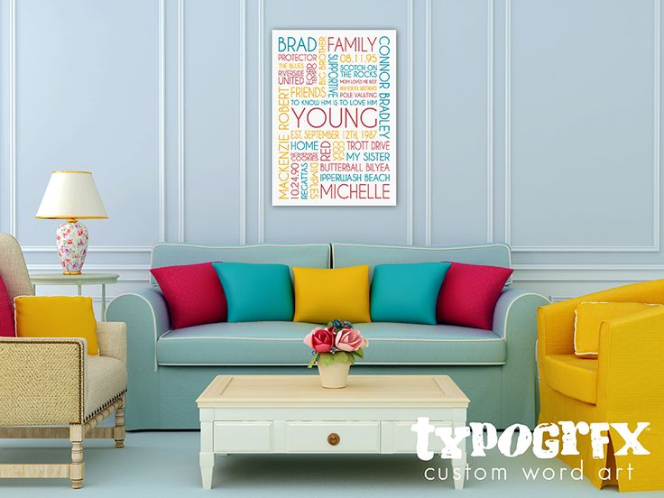 TYPOGRFX Custom Word Art Featuring Your Words Colors And Choice Of Font Style For