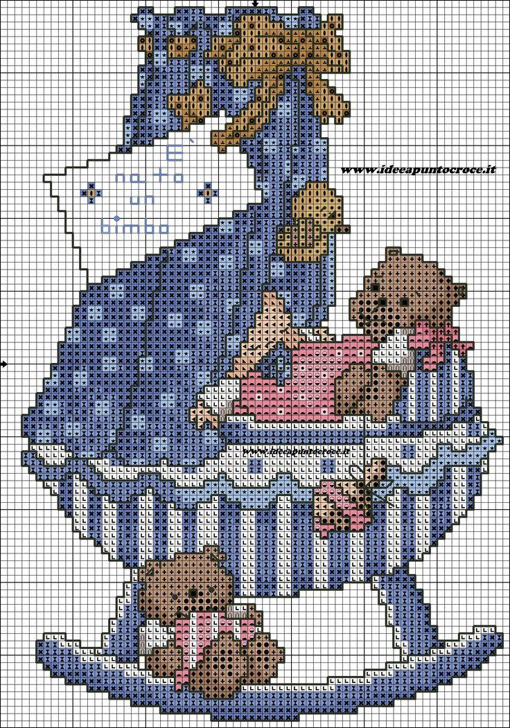 Cross-stitch Baby Cradle, part 2...   color chart on part 1...    schema bebe' punto croce
