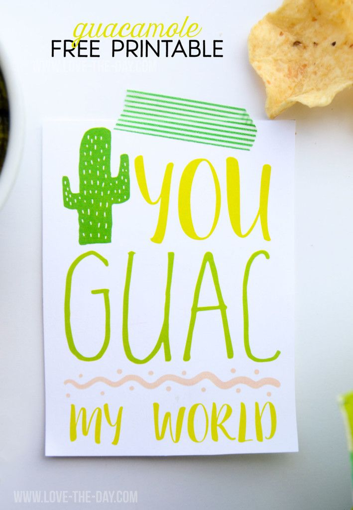 Guacamole Free Printable by Love The Day