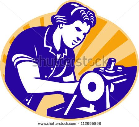 Illustration of a female machinist seamstress worker sewing on machine set inside circle done in retro style. - stock vector #mother #retro #illustration