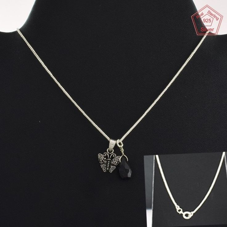 Butterfly With Black Onyx Stone Fancy Design 925 Sterling Silver Necklace NK2959…