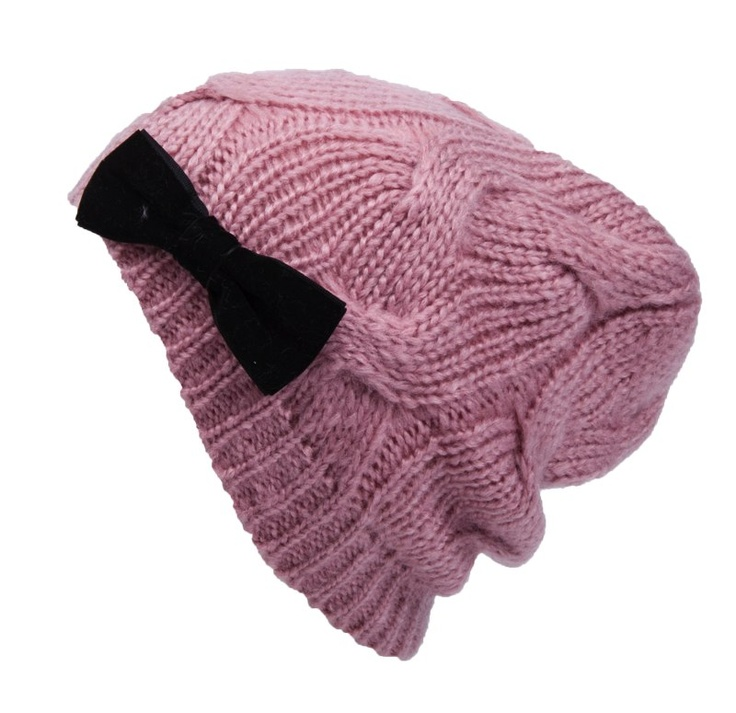 VELVET BOW DECORATION CABLE KNIT BEANIE