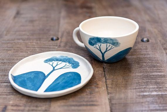 Ceramic plate teal blue side plate tree plate by MountainClay