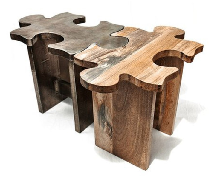 Jigsaw tables designed by Katy Frank