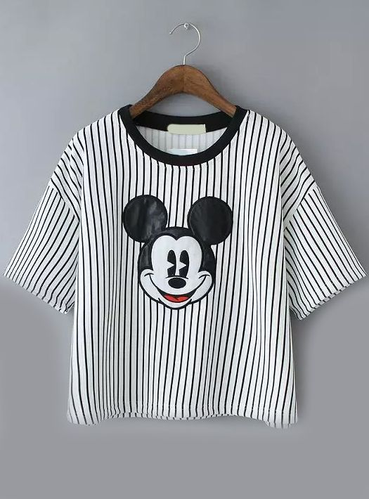 T-shirt de rayure creux motif de Mickey - gris clair  15.20