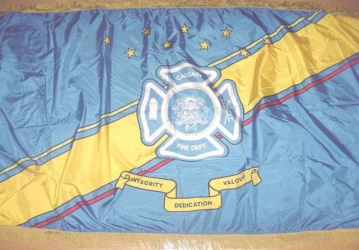 "CALGARY FIRE DEPARTMENT Flag/Banner Firefighter 68""x 33"" Alberta Canada MAN CAVE"