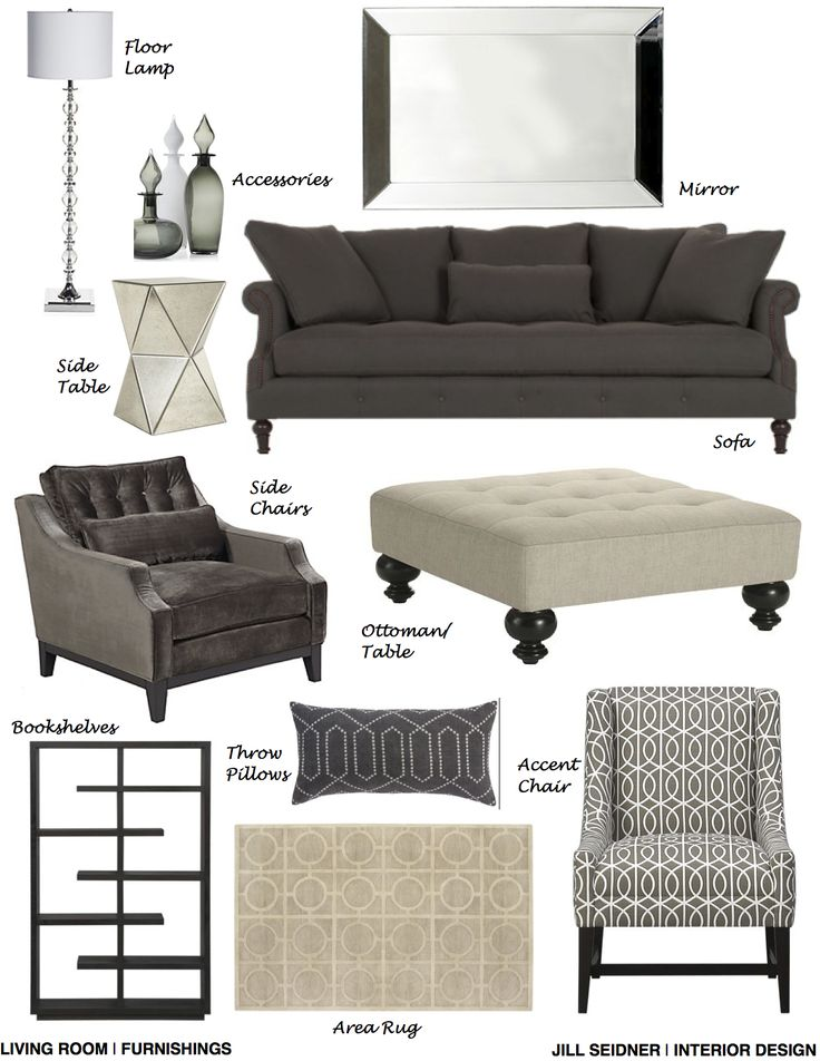 Scarsdale, NY Online Design Project Living Room Furnishings Concept Board