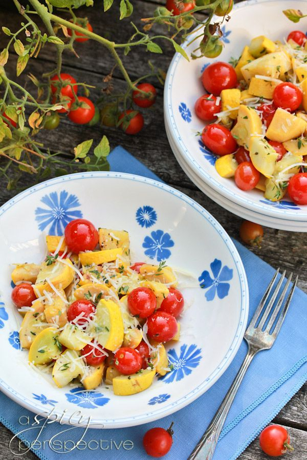 Yellow Squash With Grape Tomatoes, Garlic, Thyme And Parmesan Cheese ...