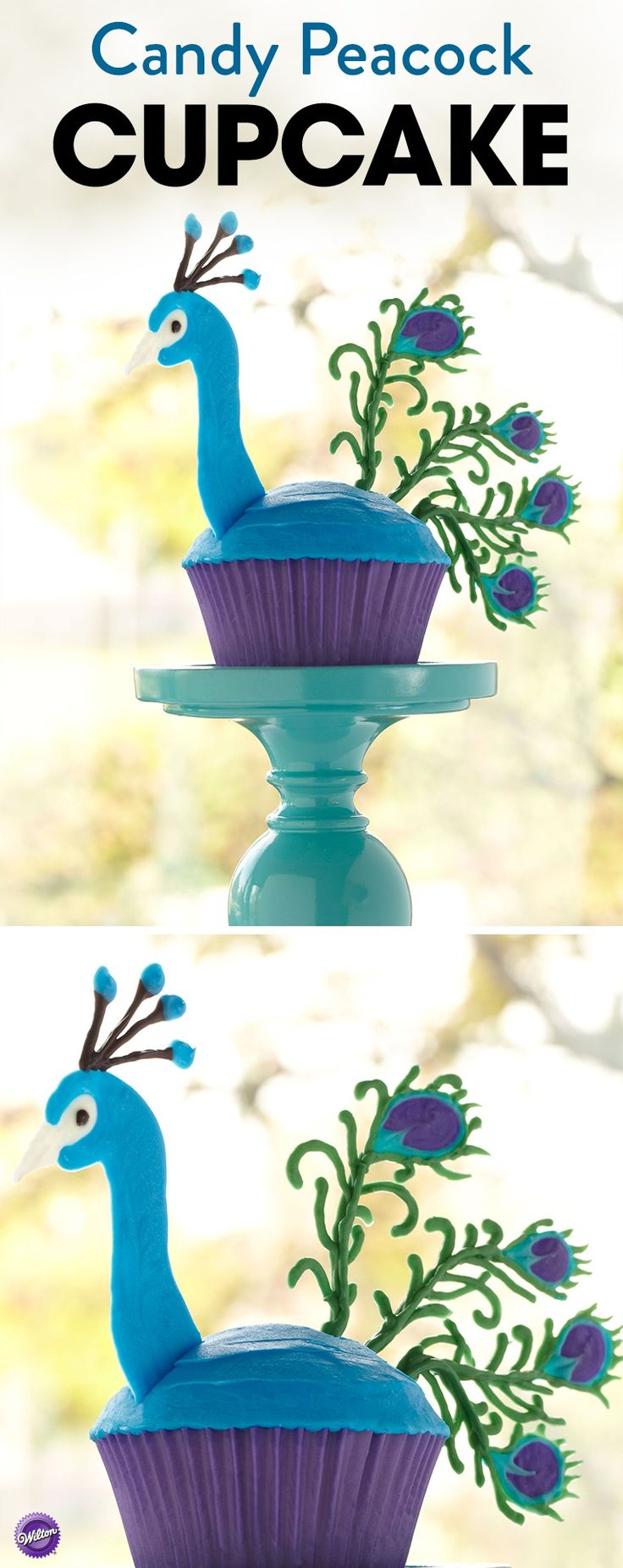 Transform a simple cupcake into a beautiful peacock with Candy Melts candy. A symbol of immortality and beauty, the peacock cupcake will be a hit at your next get-together. Use Wilton candy colors to tint Candy Melts with blue, green, black, teal, and violet.