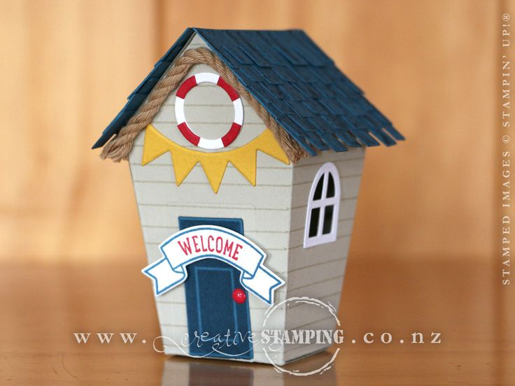 This beach house or bach reminds me of our up-coming summer holidays!  Created using the Sweet Home stamp set and coordinating Home Sweet Home Thinlits Dies, the roof stamped with the wood-textured from the Timeless Textures stamp set.  www.creativestamping.co.nz | Stampin' Up! | 2016 Holiday Catalogue