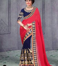 Buy Orange embroidred Georgette saree with blouse georgette-saree online